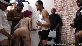 Anna Bell Peaks enjoys interracial gangbang
