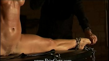 Whipped in the Splits - Alex whipped with legs spread wide