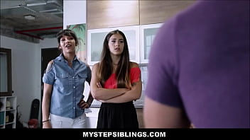 Cute Young Petite Latina Stepsisters Fuck Stepbrother After Finding Out He's Been Fucking Them Both Anyways