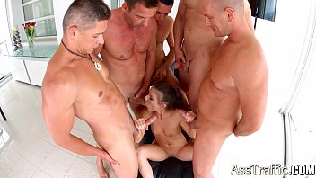 Petite Anita Bellini anal 5 guy gangbang on Ass Traffic
