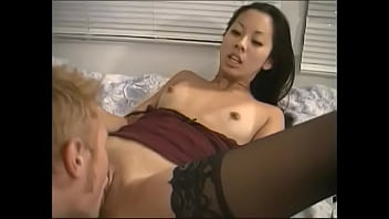 Horny tanned chick Leilani Wong in lingerie takes huge dick