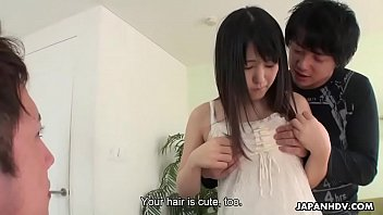 Japanese teen brunette, Tsuna Kimura got DPed and creampied, uncensored