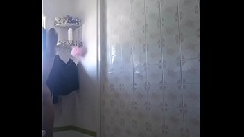 young girl showering