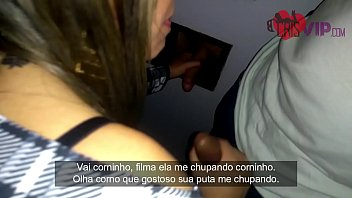 Husband cuckold filming his wife inside porn cinema with gloryhole, men enter the room to fuck and cum in their mouth 77 sec