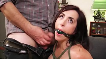 bondage fetish - Sexy brunette milf was bound and forced to give blowjob - http://GIFALT.COM - bdsm rough sex