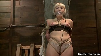 Big ass blonde gets toyed on hogtie
