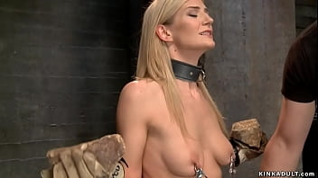 Bound blonde doggy fucked in threesome