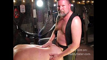Leather top gay Daddy master leather top smoking pipe whilepounding his bottom boy in the sling