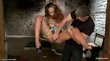 Huge tits hogtied slave squirting