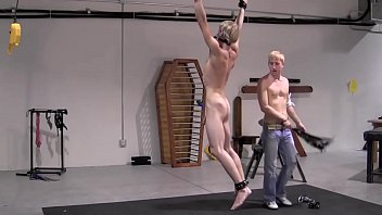 Twink With Huge Cock Whipped While Hanging - BDSM