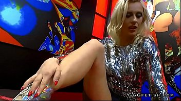 Crazy blonde in gangbang actions with big hard cocks
