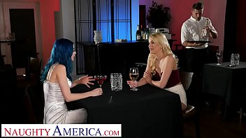 Naughty America Kenna James and Jewelz Blu give the waiter a hot threesome in an empty restaurant pornhub video