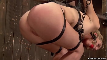 Blonde Strapped And Hung For Pipe