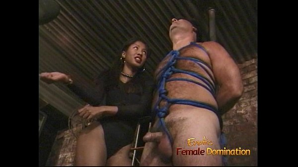Lovely Asian bitch enjoys pleasuring bound and blindfolded white stud Thumb