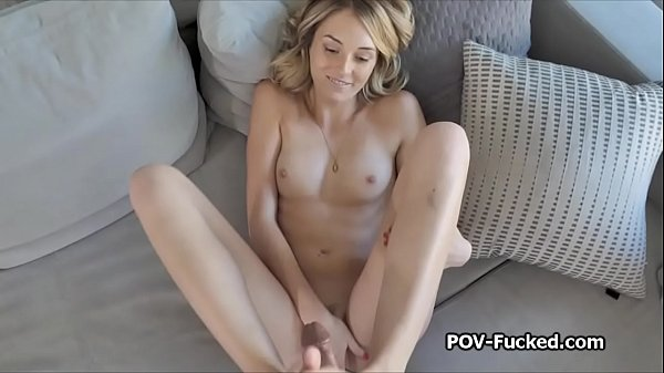 She deep throats my dick and does footjob on POV video