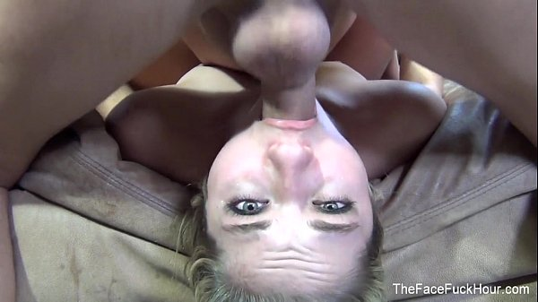 Blonde babe gets her throat filled