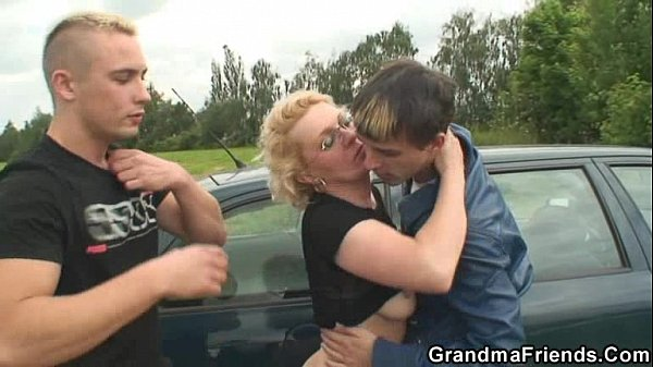Old bitch is picked up and fucked in the fields