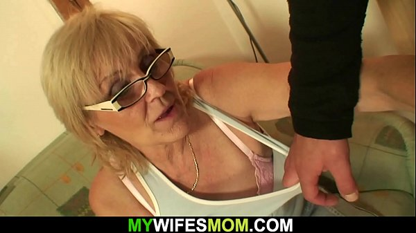 Very old skinny blonde mother rides son-in-law ...