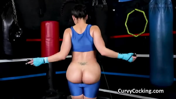 Lilly jumps rope then a hard cock after workout