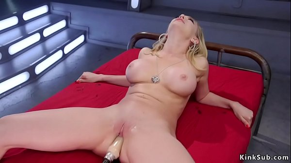 Shaved pussy busty blonde fucks machine Thumb