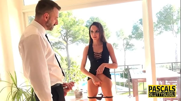 Brunette submissive rides and gets throated