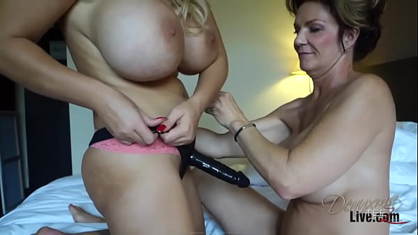 Busty MILF Deauxma gets fucked with a strap-on from Busty Dolly Fox