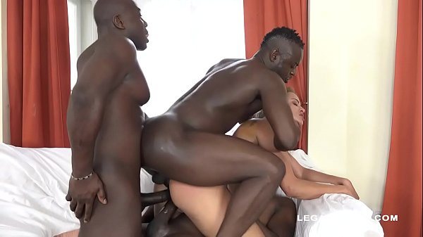 Serbian slut Cherry Kiss challenges the 3 black...