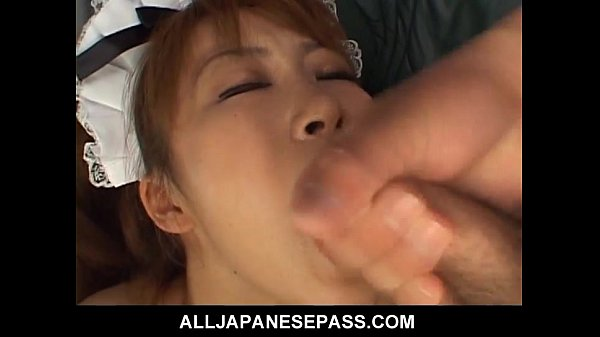 Petite maid gets sandwiched between two cocks