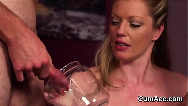 Naughty sex kitten gets cum shot on her face swallowing all the charge