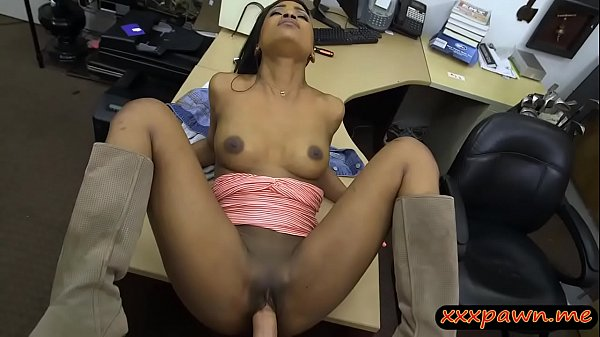 Ebony babe pounded by nasty pawn keeper