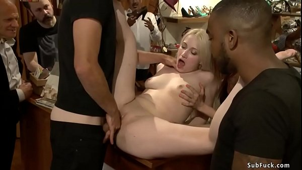 Blonde in interracial public gangbang