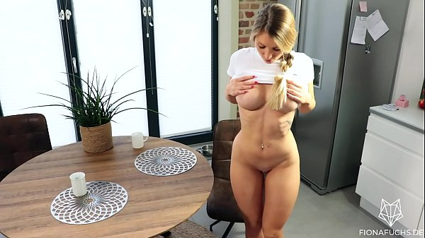 Blonde babe gets fucked on the kitchen table