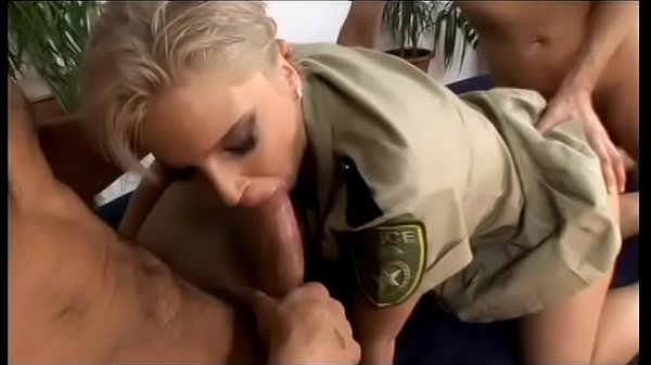Nasty blonde whore in uniform Joana gets facial from two hard cocks Thumb