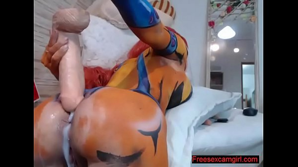 Cosplay camgirl play anal with huge dildo