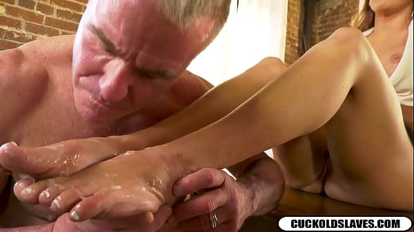 Cuckold cleans black monster cock cum off white...