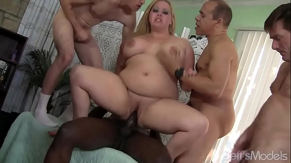 Fat Blonde Star Staxx Is Gangbanged by Five Well Hung Guys Thumb