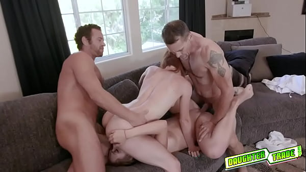 Sexy besties Luna and Ashley fucked by each others pervy daddies