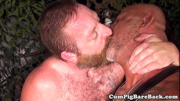 Strapped mature bear barebacked in duo