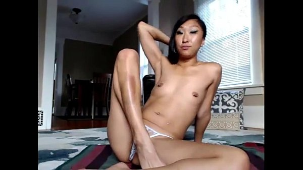 Girl asian crazy playing on live webcam - burst...