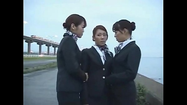 3 Japanese Lesbian Airline Stewardess Girls Kissing! Thumb