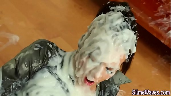 Goo covered bukkake slut