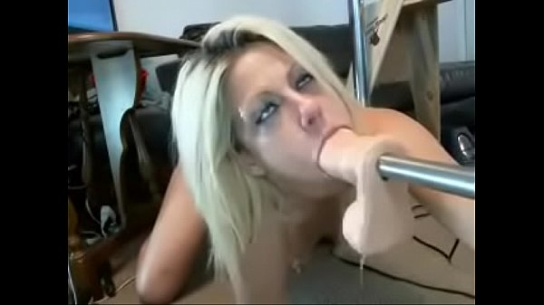 Blonde throat fucked by machine on cam - More o...