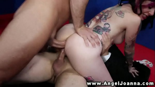 Angel Joanna sucked and fucked by two studs in their office