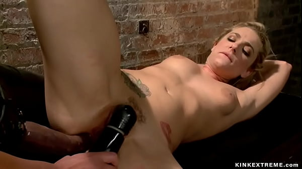 Bound blonde whipped in boiler room