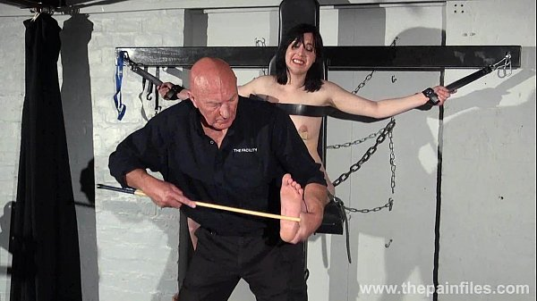 Feet whipping and bastinado of tied Honesty Cab...