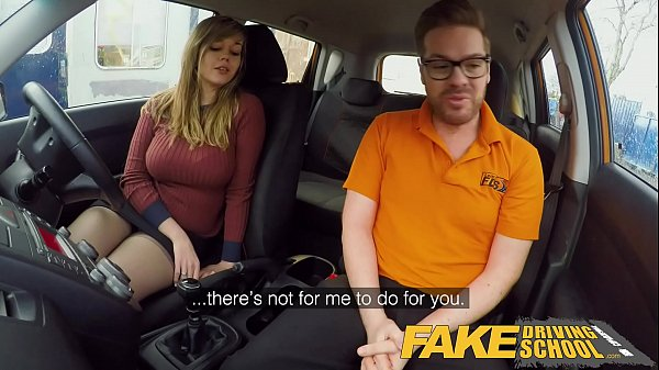 Fake Driving School 34F Boobs Bouncing in driving lesson Thumb