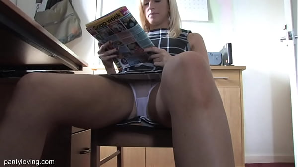 Hot Babe Fiona Spreading Her Legs While Reading By Desk