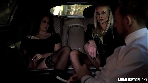 Milfs Kayla Green & Angelina Brill fucked real hard in luxurious limousine