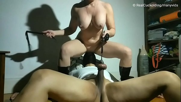 Cuck Licks Pussy While Having His Nuts Whipped