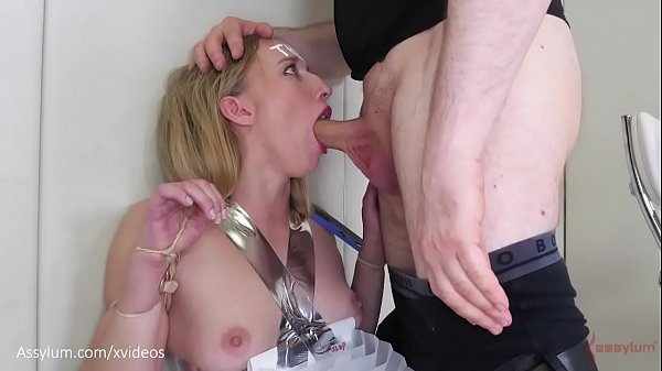 Hot blond PAWG bound with office supplies, face fucked, and s. (Riley Reyes)